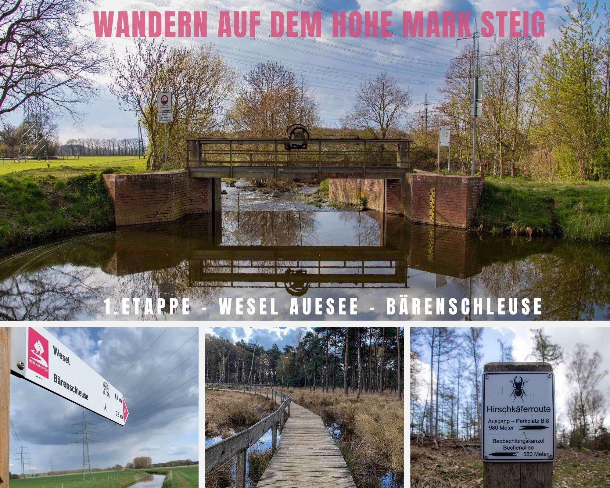 Wandern auf dem Hohe Mark Steig – 1.Etappe in Wesel – Vom Auesee zur Bärenschleuse